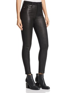 AG Farrah Leather-Front Skinny Jeans in Leather Super Black