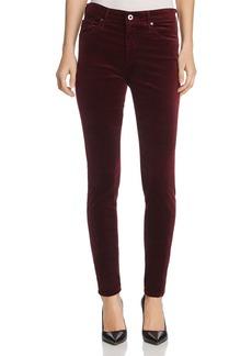 AG Farrah Velvet Skinny Jeans in Deep Currant