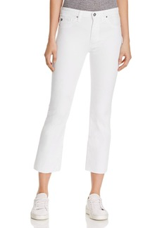 AG High Rise Slim Crop Jeans in White