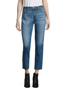 AG Isabelle High-Rise Cropped Straight-Leg Jeans