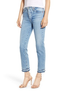 AG Adriano Goldschmied AG Isabelle High Waist Hem Detail Ankle Straight Leg Jeans (22 Years Blue Solstice)