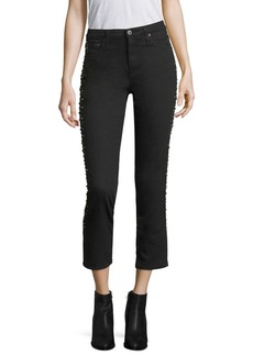 AG Adriano Goldschmied Isabelle Stud High-Rise Cropped Jeans