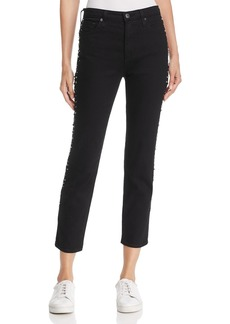 AG Isabelle Studded Straight-Leg Jeans in Super Black Meteor Shower