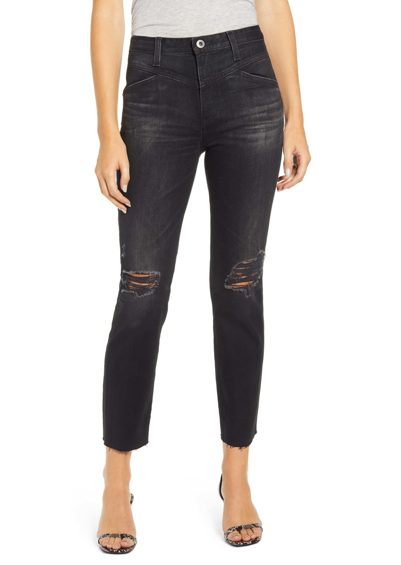 AG Adriano Goldschmied AG Isabelle X High Waist Ripped Raw Hem Ankle Jeans (2 Years Distinct Black)