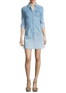 AG Jacqueline Button-Front Chambray Shirtdress