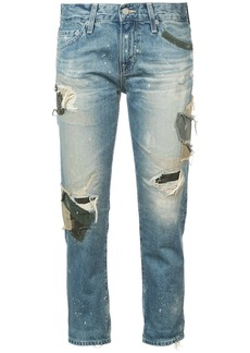 AG Adriano Goldschmied Ag Jeans ex boyfriend distressed patchwork jeans - Blue