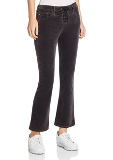 AG Jodi Lace-Up Cropped Flare Velvet Jeans in Rich Mercury