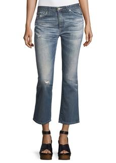 AG Jodi Slim Flared Faded Distressed Crop Jeans