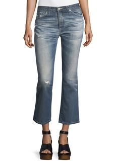 AG Adriano Goldschmied AG Jodi Slim Flared Faded Distressed Crop Jeans