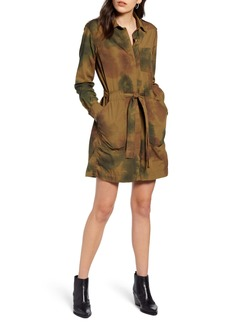 AG Adriano Goldschmied AG Justine Watercolor Camo Long Sleeve Cotton Shirtdress