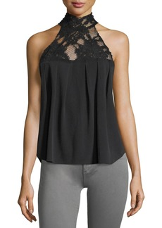 AG Adriano Goldschmied AG Lydia Mock-Neck Sleeveless Top w/ Lace
