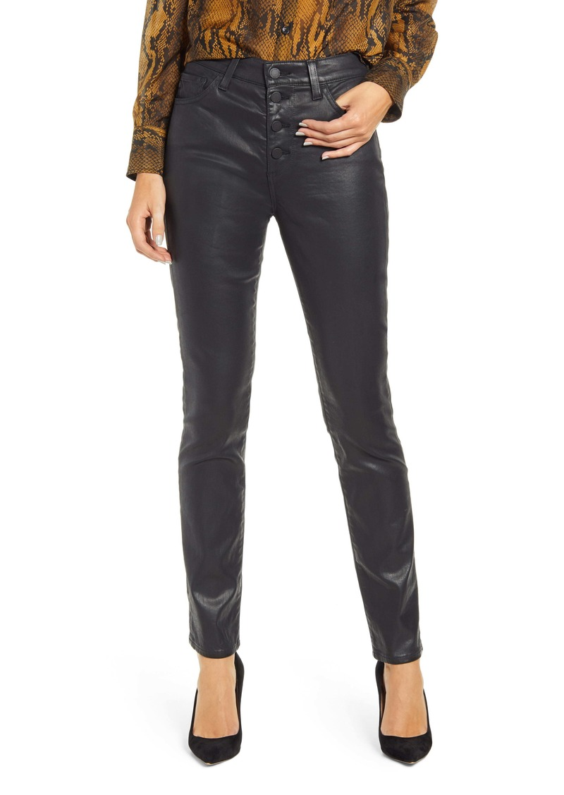 AG Adriano Goldschmied AG Mari Coated Slim Straight Leg Jeans (Leatherette LT Super Black)