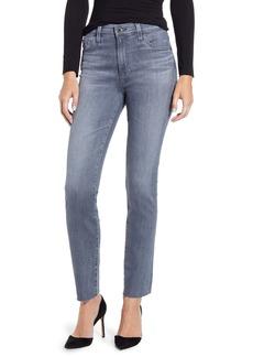 AG Adriano Goldschmied AG Mari High Waist Raw Hem Ankle Slim Straight Leg Jeans (Gray Light)