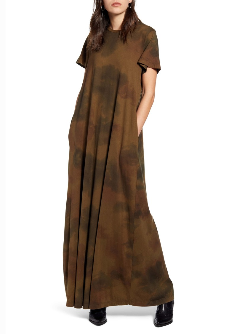 AG Adriano Goldschmied AG Micah Watercolor Camo Stretch Cotton Maxi Dress