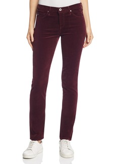 AG Mid Rise Cigarette Corduroy Jeans in Wine