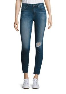 AG Middi Distressed Raw Hem Skinny Jeans