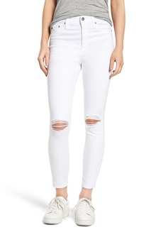 AG Mila Ripped High Waist Ankle Skinny Jeans (White Impressions)