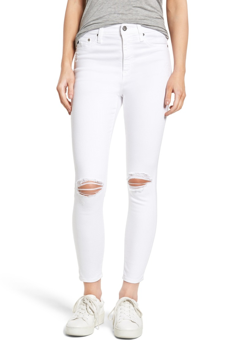 AG Adriano Goldschmied AG Mila Ripped High Waist Ankle Skinny Jeans (White Impressions)