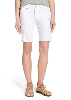 AG Adriano Goldschmied AG 'Nikki' Cutoff Denim Bermuda Shorts (1 Year White Mended)