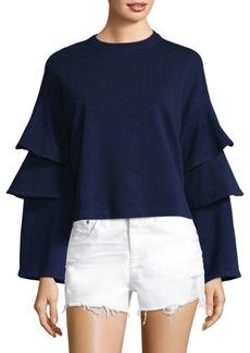 AG Adriano Goldschmied Pearl Ruffle Bell-Sleeve Sweatshirt