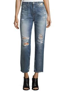 AG Phoebe Distressed High-Rise Straight-Leg Jeans
