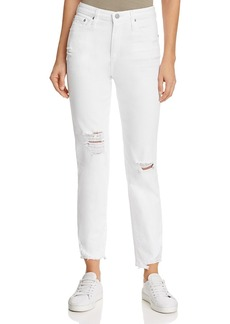 Ag Phoebe High-Rise Straight Jeans in 5 Years Tattered White
