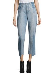 AG Phoebe High-Waist Colorblock Step Hem Jeans