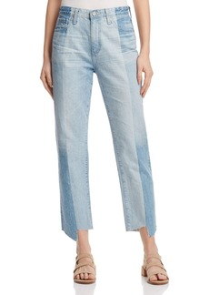 AG Phoebe Vintage High-Rise Tapered-Leg Jeans in 19 Years Splinter