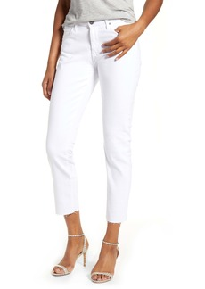 AG Adriano Goldschmied AG Prima Mid Rise Raw Hem Crop White Jeans