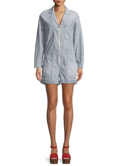 AG Adriano Goldschmied Rochelle Zip-Front Long-Sleeve Striped Chambray Romper