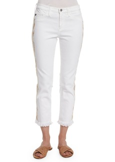 AG Stilt Embroidered-Outseam Mid-Rise Cropped Jeans