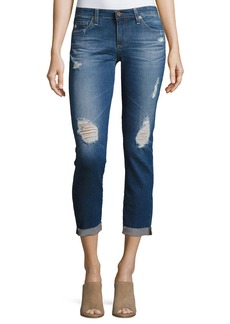 AG Stilt Roll-Up Cropped Distressed Jeans
