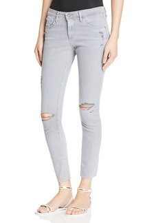 AG Super Skinny Ankle Jeans in Destructed Grey