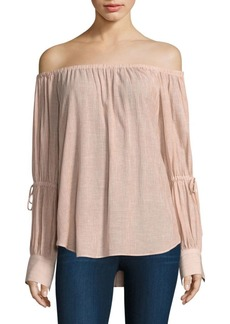 AG Adriano Goldschmied Tallulah Tie Sleeve Off-The-Shoulder Top