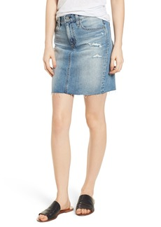 AG Adriano Goldschmied AG The Erin Distressed Denim Miniskirt (Indigo Deluge Destructed)