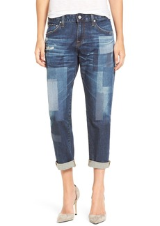 AG The Ex-Boyfriend Distressed Patchwork Slim Jeans (10 Years Dimension)