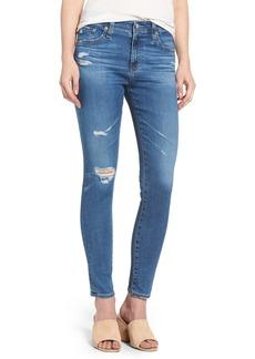 AG The Farrah High Waist Ankle Skinny Jeans (14 Year Blue Nile Destructed)