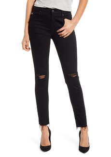 AG Adriano Goldschmied AG The Farrah High Waist Ankle Skinny Jeans (1 Year Midnight Black Destroyed) (Nordstrom Exclusive Color)