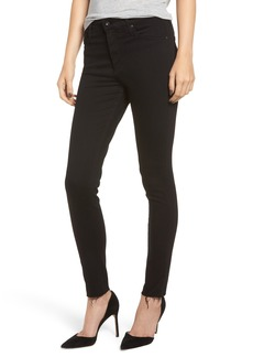 AG Adriano Goldschmied AG The Farrah High Waist Raw Hem Ankle Skinny Jeans (Black Ink)