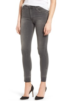 AG Adriano Goldschmied AG The Farrah High Waist Raw Hem Skinny Jeans (12 Years Shadow Ash)