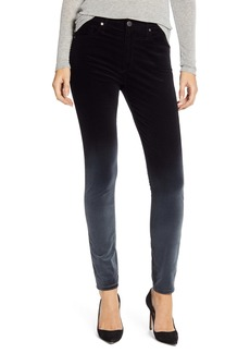 AG Adriano Goldschmied AG The Farrah High Waist Velvet Ankle Skinny Jeans (Sunbaked Ombré Super Black)