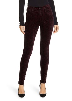AG Adriano Goldschmied AG The Farrah High Waist Velveteen Skinny Jeans (Gallant Paisley Port Wine)