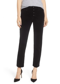 AG Adriano Goldschmied AG The Isabelle Button High Waist Ankle Straight Leg Jeans (Super Black)