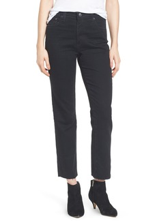 AG The Isabelle High Waist Crop Straight Leg Jeans (1 Year Black Hawk)