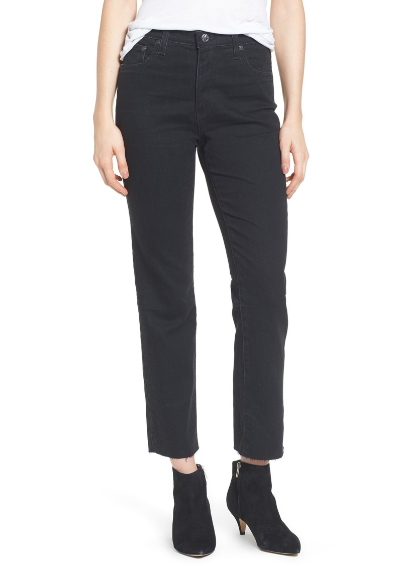 AG Adriano Goldschmied AG The Isabelle High Waist Crop Straight Leg Jeans (1 Year Black Hawk)