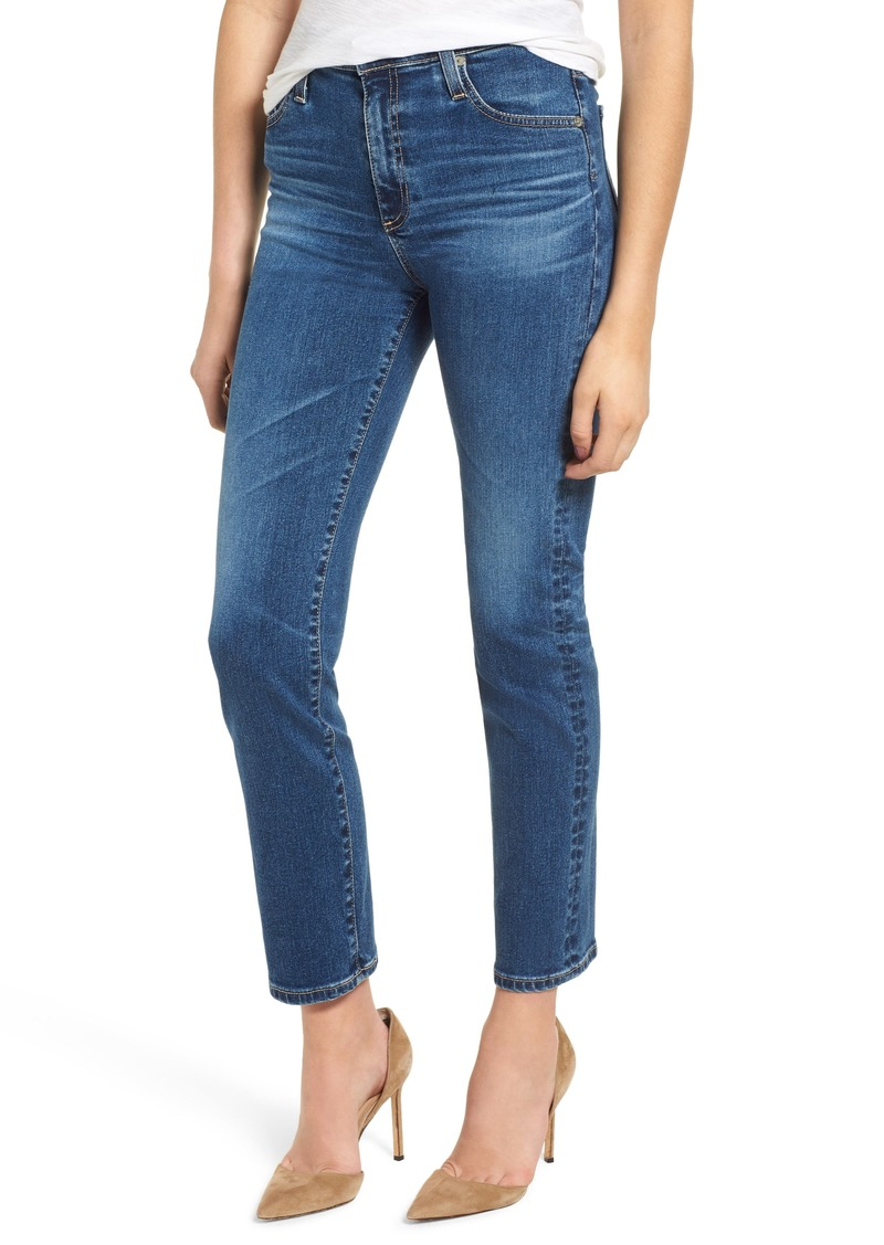 AG Adriano Goldschmied AG The Isabelle High Waist Crop Straight Leg Jeans (10 Years Cambria)