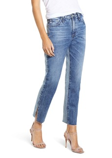 AG Adriano Goldschmied AG The Isabelle High Waist Slit Raw Hem Ankle Straight Leg Jeans (15 Years Indigo Bound)