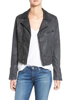 AG Adriano Goldschmied AG The Moto Coated Denim Jacket (Vintage Black Leatherette)