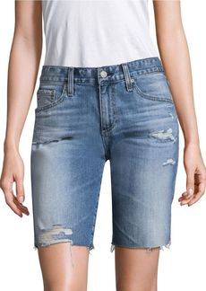 AG Adriano Goldschmied The Nikki Slim-Fit Relax Skinny Raw Hem Medium Wash Denim Shorts