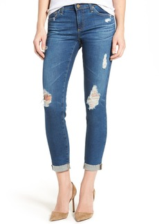 AG The Stilt Distressed Roll Cuff Cigarette Leg Jeans